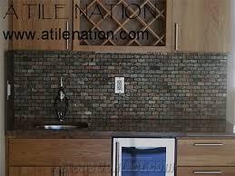 Granite Bar Top With Slate Tile Backsplash From United States - Bar backsplash
