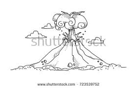 sketch two volcano hand drawn illustration stock vector 713147668