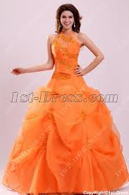 orange quinceanera dresses pretty halter orange organza 15 quinceanera dress 1st dress