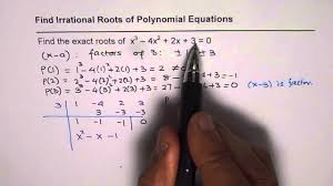 find irrational exact roots of cubic polynomial equation