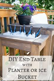 Free Woodworking Plans For Outdoor Table by Diy End Table With Built In Planter Or Ice Bucket The Handyman U0027s