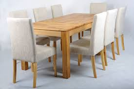 Oak Dining Table And Fabric Chairs Dining Table 8 Chairs