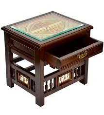teak wood side table buy exclusivelane teak wood bedside table in walnut finish online