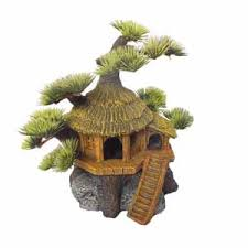 tree hut aquarium ornament pets at home