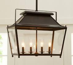 Pottery Barn Lantern Elegant Rectangular Lantern Chandelier Kitchen Glass And Iron