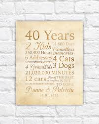 customized anniversary gifts 40 year anniversary 40th anniversary gift for parents