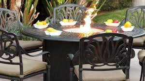Aluminum Cast Patio Dining Sets - darlee elisabeth 6 person cast aluminum patio fire pit dining set