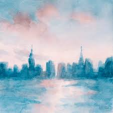 blue painting new york city skyline c and aqua by beverly brown prints