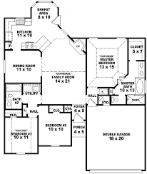 Floor Plan With Garage by 3 Bedroom 2 Bath House Plans Home Planning Ideas 2017
