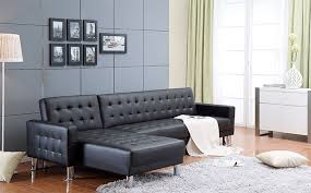 Black Sofa Bed by Incadozo 2pc Tufted Bi Cast Leather Sectional Sofa Bed In Black