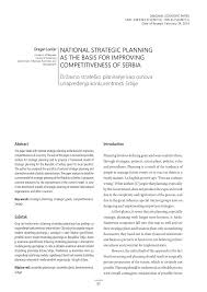 Inno Infr by National Strategic Planning As The Basis For Improving