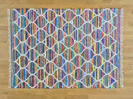 5 u0027x7 u0027 hand woven multicolored kilim oriental wool and sari silk
