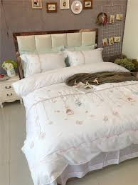 egypt cotton white lace exqusite embroidery bedding set queen king size 4pcs girls bed set