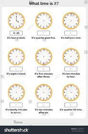 telling time worksheet write clockwise time stock vector 515365723