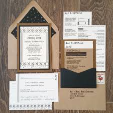 wedding pocket invitations industrial wedding invitation letterpress wedding invitation