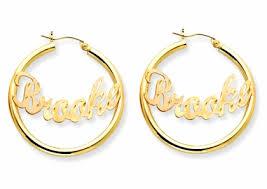 Hoop Earrings With Name Diamond Cut Monogrammed 14k Gold Name Plate Hoop Earrings Only