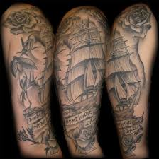 collection of 25 clouds sailing ship and octopus tattoos on half