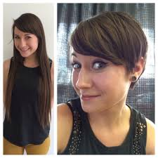 haircut on long hair brunette to a pixie hair cut anne hathaway