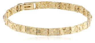 yellow gold bracelet with diamond images Men 39 s 14k solid yellow gold nugget diamond cut jpg