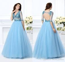 new unique 2017 sky blue quinceanera dresses backless half sleeve