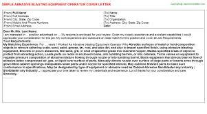 abrasive blasting equipment operator cover letter