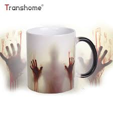mug design transhome walking dead color changing coffee mug 350ml bloody hands