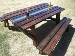 picnic table with separate benches the rusty roost ultimate party picnic table with ice cooler center