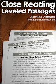 differentiated close reading passages presidents day and