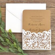 pocket invitation brides laser cut lace pocket invitation kit walmart