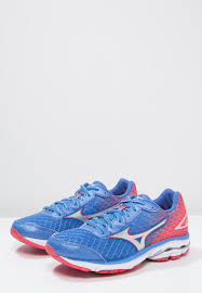 mizuno wave rider 19 neutral running shoes palace blue silver diva