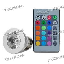 e27 3w rgb color light 1 led bulb w remote ac 85 265v