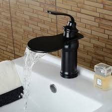 oil rubbed bronze bathroom sink faucet brass waterfall deck mounted ceramic valve one hole oil rubbed