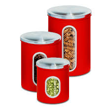 amazon com honey can do kch 03011 3 piece metal nested canister amazon com honey can do kch 03011 3 piece metal nested canister set red kitchen storage and organization product sets