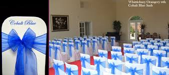 blue chair sashes cobalt sapphire blue organza sash quality chair cover hire
