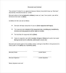 personal loan contract word 23 simple contract template and
