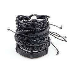 leather bracelet with cross images 1set 6pcs black leather bracelet men multilayer braid bracelets jpg