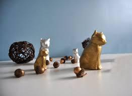4 silver gold cat ornament set cat ornament gold