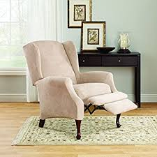 Stretch Slipcovers For Recliners Amazon Com Sure Fit Stretch Suede Wing Chair Recliner Slipcover