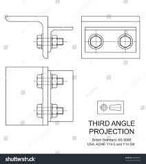 example third angle orthographic projection drawing stock