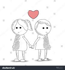 sketch cute kids couple holding hands stock vector 159725519