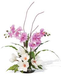 flowers arrangement magnolias orchids silk flower arrangement for home and office