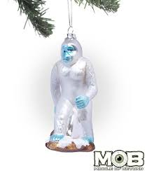 yeti abominable snowman glass ornament middle of beyond