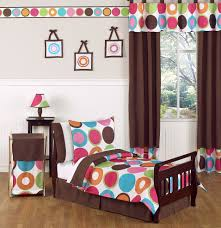 Toddler Girls Bedding Sets by Large Polka Dot Circle Pink Brown Toddler Bedding 5pc Bed Bag