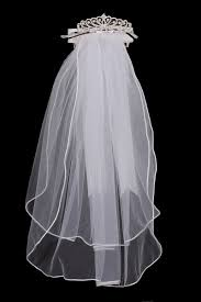 white communion veil rhinestone crown satin bow