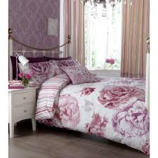 catherine lansfield ilona reversible vintage floral plum duvet set