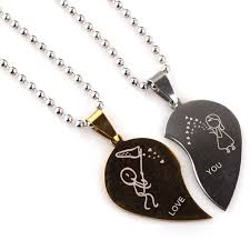 couple heart pendant necklace images 2pcs stainless steel funny cute half love heart pendant necklace jpg