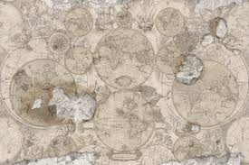 Vintage Map Wallpaper by Traditional Wallpaper Vintage Map Faience Print
