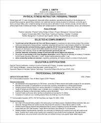 Sample Fitness Instructor Resume Personal Trainer Resume Resume Sample Template Personal Trainer