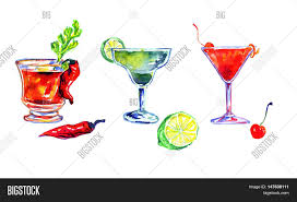 watercolor cocktail hand painted watercolor image u0026 photo bigstock
