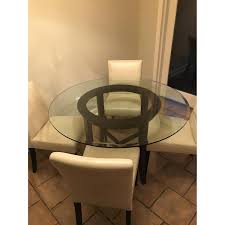crate u0026 barrel round glass dining table w 4 white aptdeco